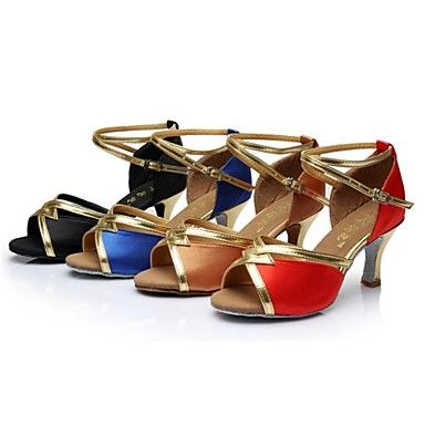 De latin salsa aanpasbare vrouwen sandalen maat hiel satijn gesp dans schoenen (meer kleuren) – EUR € 10.31