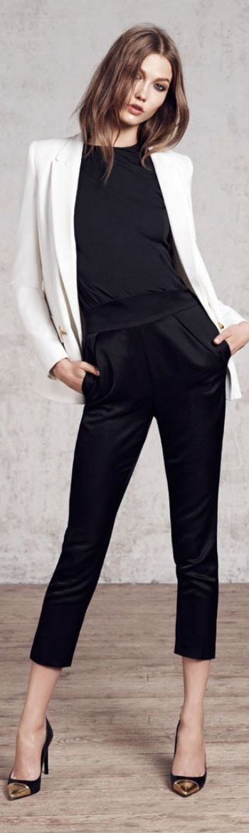 Karlie Kloss for Mango - Liven up an all black outfit with a polished white blazer