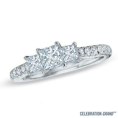 ive tagged a product on zales celebration grand ct princess cut diamond three stone ring in white gold - Wedding Rings Zales