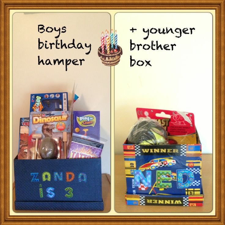 Boys birthday hamper and younger brother box