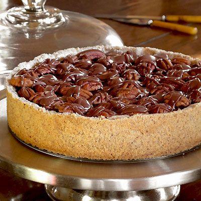Chocolate Tart with pecan crust...sounds decadent