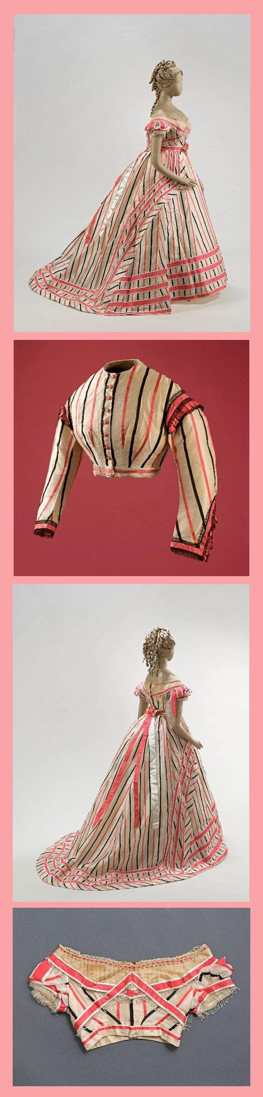 Dress, ca 1866. Day bodice and ball bodice.