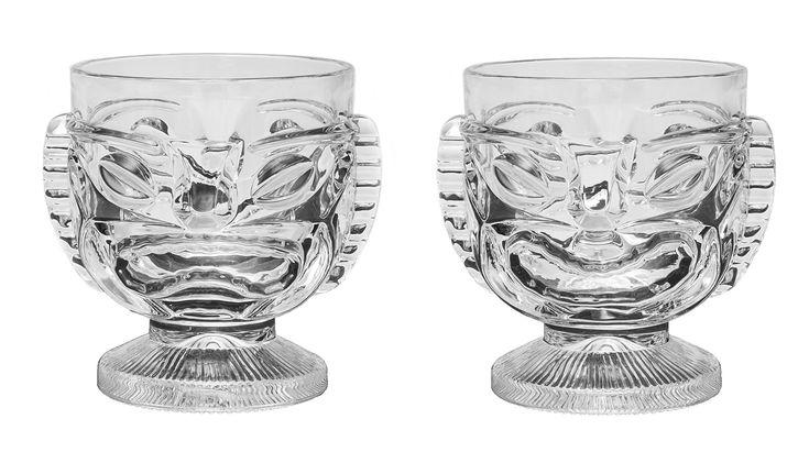 Tiki Glass - 15 oz. Cocktail Mug for Mai Tai, Punch, Pina Colada, and tropical drinks. Island-themed party home barware glasses, (2)