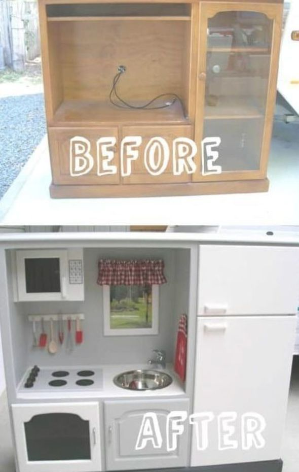 Kids Play Kitchen From Old Tv Stand Recycled Furniture Diy Play