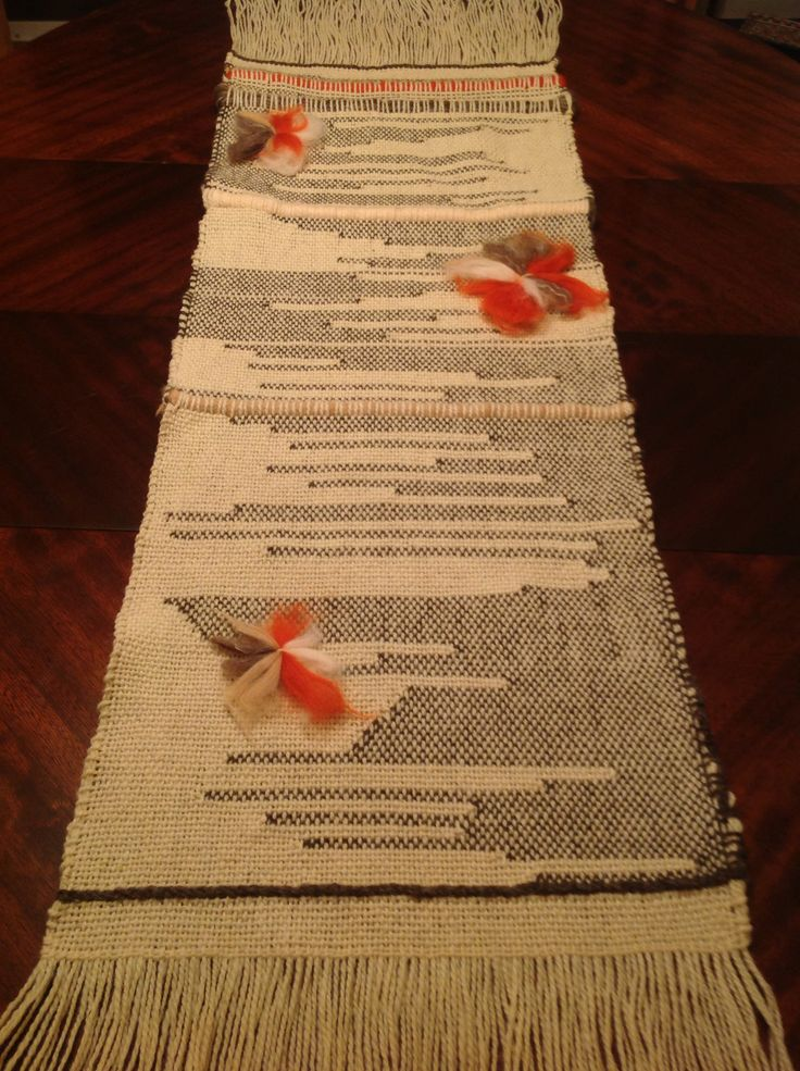 Creativo, Tapestry, camino de mesa, natural wool, lana natural, butterflyes, mariposas
