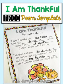 Free Thanksgiving Poem Template   This cute and easy to use template is a great activity for your students to get thinking about everything they have to be thankful for!Perfect for a Thanksgiving week fun activity!  Get the download HERE!  Mrs. Thompson's Treasures poem Thanksgiving turkey