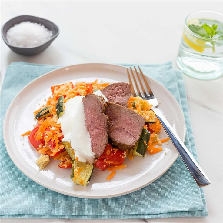 Spiced Lamb Rumps with Roast Vegetable and Carrot Couscous and Honey Yoghurt