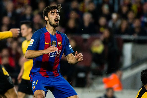 The FC Barcelona player Andre Gomes from Portugal during the La Liga match between FC Barcelona vs Malaga CF at the Camp Nou stadium on November 19...