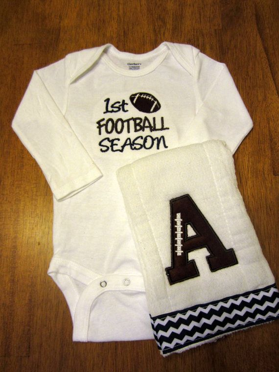 Football baby gift set by Embroideriffic on Etsy. Would be a cute idea for basketball!