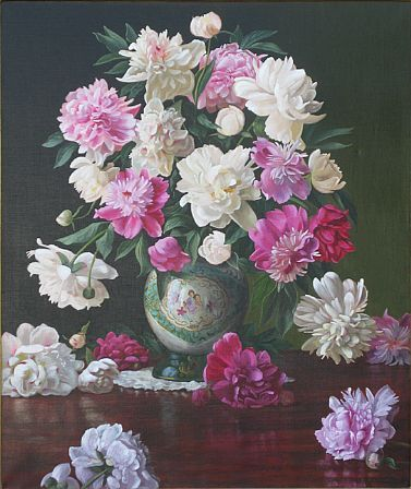 Christopher Pierce, Peonies in a Japanese Vase, 2013, oil on canvas, 36 X 30 inches