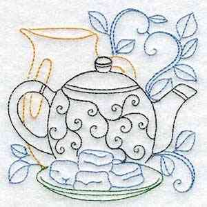 Buy Individual Embroidery Designs from the set Line Art Tea Pots cookies tea