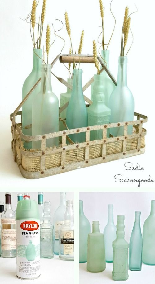 Recycle Glass Bottles and Glass Jars with Sea Glass Spray Paint... http://www.completely-coastal.com/2016/09/seaglass-spray-paint-frosted-glass.html