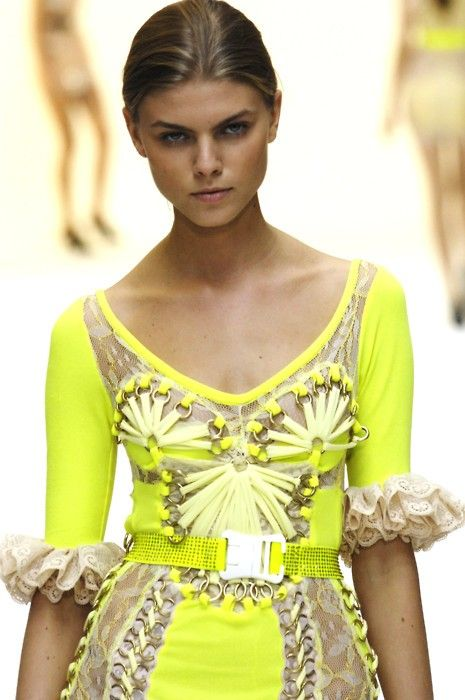 neon details: Lace Cuffs, Christopher Kane, Neon Fashion, Fantasy Dresses, Neon Dresses, Neon Things, Dresses Outfits, Neon Yellow, Cool Dresses
