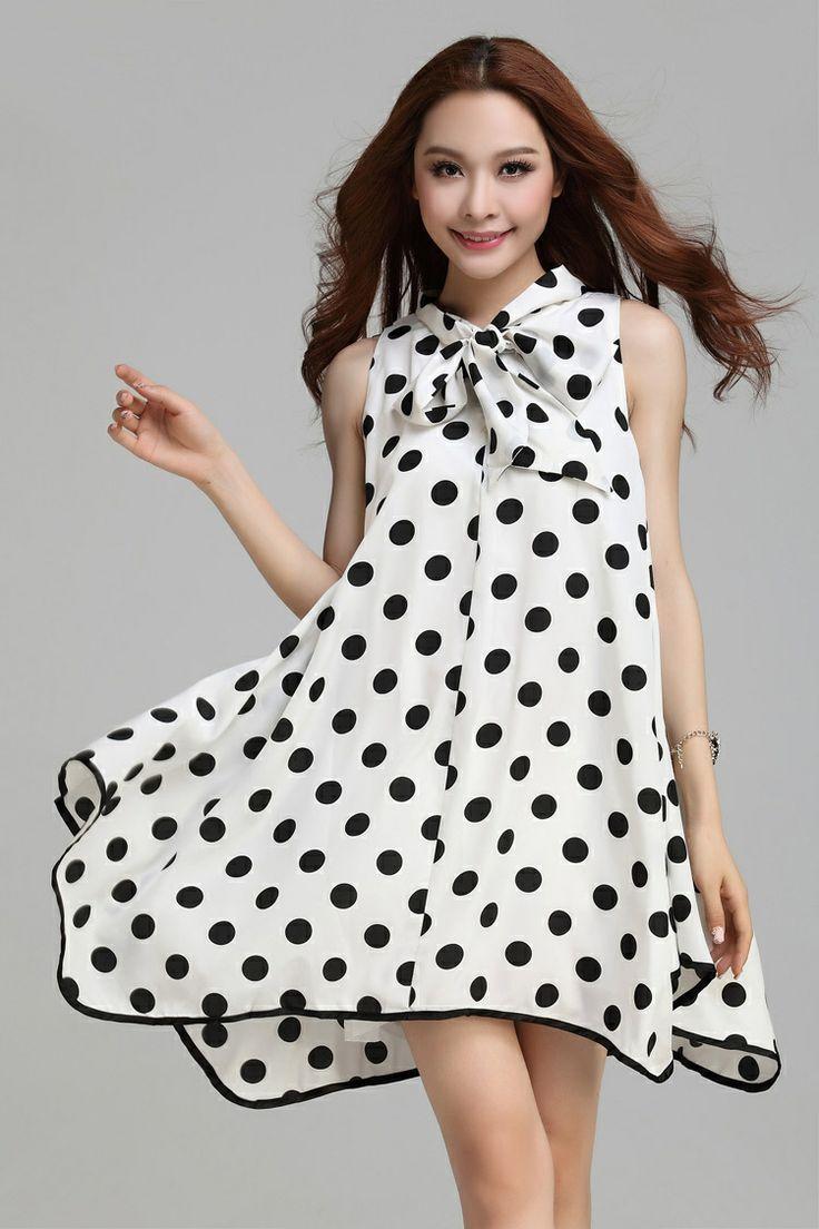 2014 women casual dress womens summer dresses white black sleeveless big dot print women's clothing M L XL $29.00