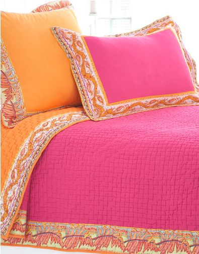 """South of the Border"" Orange and Pink Bedding Collection from Pine Cone Hill."