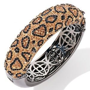 Leopard Print Pavé Crystal Bangle Bracelet