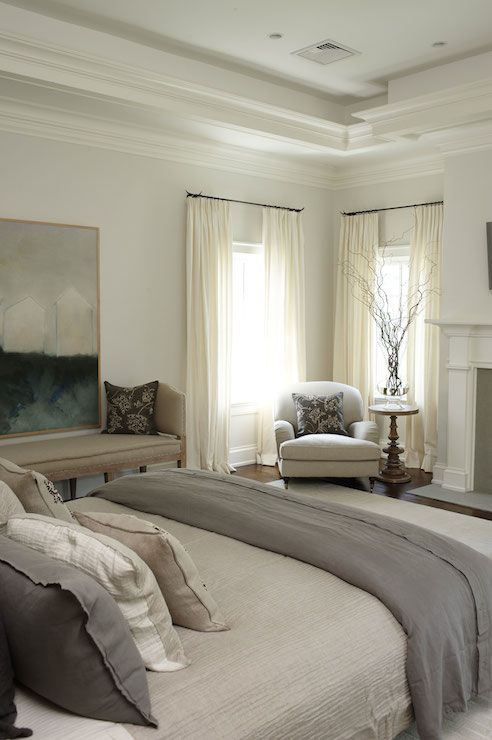 Chair in the window corner Gray Linen Bedding, Transitional, bedroom, Lillian August