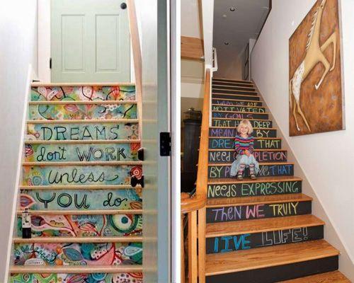 Escaleras decoradas con arte DIY