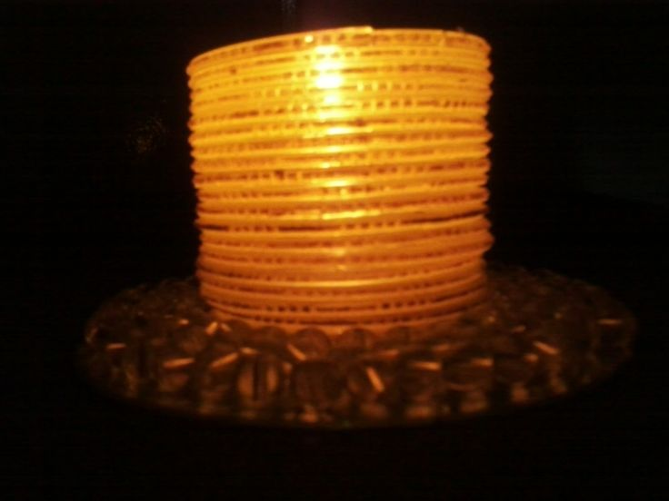 Candle Stand From Glass Bangles And Waste Cd  •  Free tutorial with pictures on how to make a candle in under 60 minutes