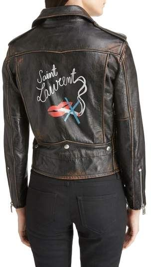 8cf67a4973ce Saint Laurent Back Logo Leather Biker Jacket. Gentle distressing and fading  lend time-worn authenticity to an Italian-leather moto jacket that exudes  ...