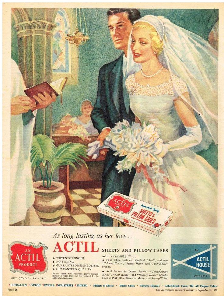 AUSTRALIAN Vintage Advertising ACTIL AD  BRIDE  WEDDING 1950's Original Advert #ACTIL