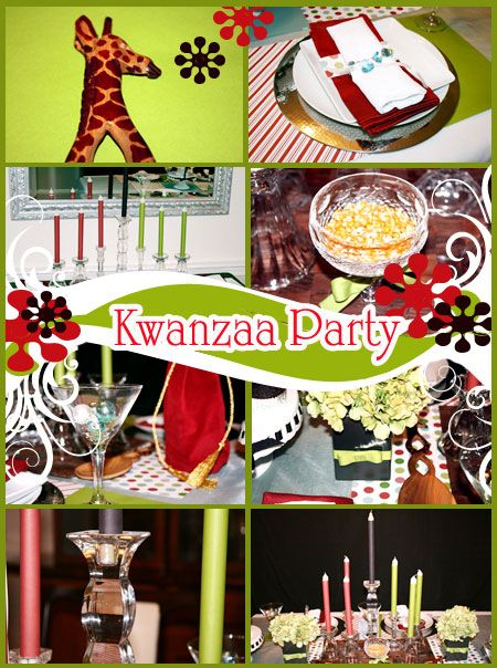 Kwanzaa Party Ideas: Kwanzaa table with red, black and green candles, corn bowl, fruit, African art and utensils, Kwanzaa decor