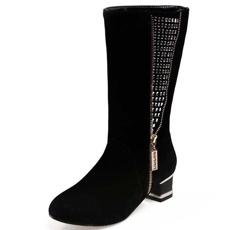 Новый Полный Новый Осень зима женская Обувь сапоги Мягкие кожаные сапоги Мода Zip Копыта пятки Высокое качество длинные сапоги продажа