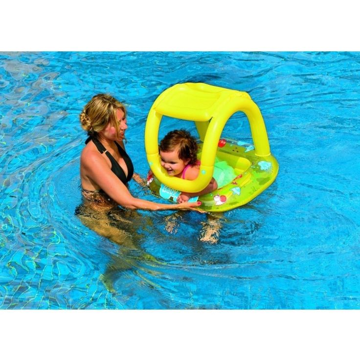 """Jilong 26"""" Yellow Sea Creatures Inflatable Swimming Pool Baby Float with Sunshade 32148687"""