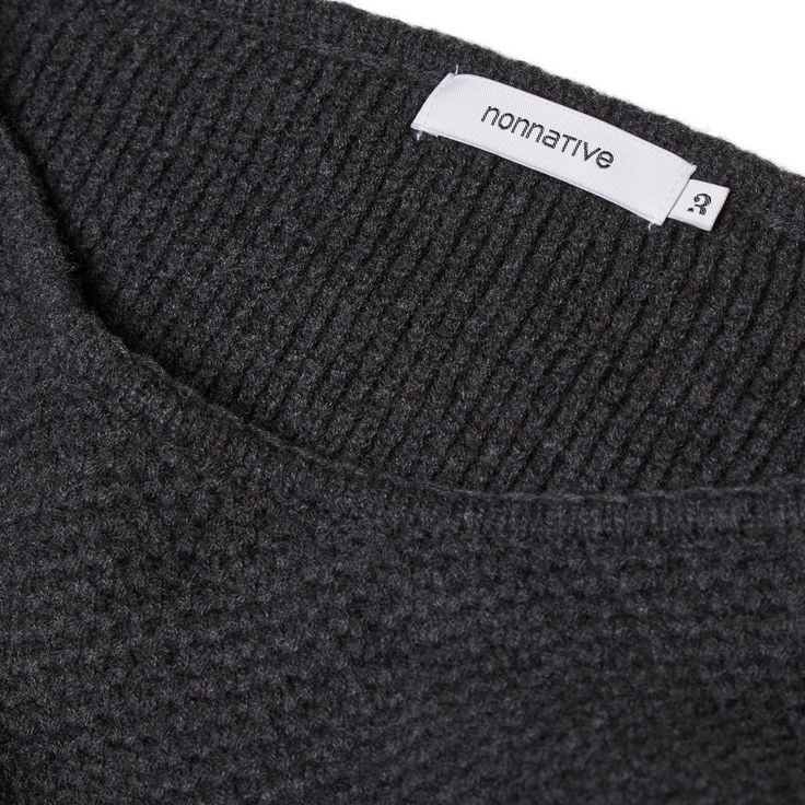 Nonnative // Contractor Sweater Wool Yam Waffle Black Close Up