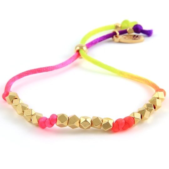 turn up the neon lights bracelet: Neon Satin, Neon Bracelets, Jewelry Accessories, Gold Faceted, Faceted Beads, Beads Jewelry, Adjustable Neon, Satin Cords, Bright Colors