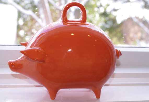Mexican Orange Piggy Bank by PlainJanePottery on Etsy, $25.00