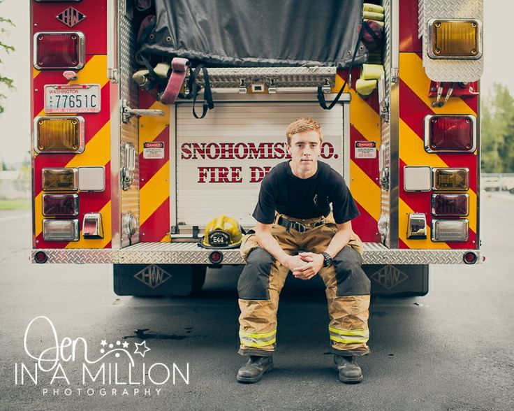 Senior boy firefighter session. Fire station session. Jen In A Million Photography.. Check out that cool T-Shirt here: https://www.sunfrog.com/I-love-my-firefighter-Black-Ladies.html?53507