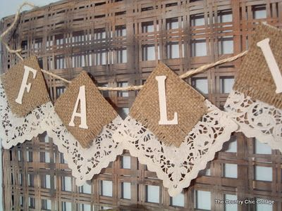 Banner made with burlap backed with lace doily. Could use brown craft paper and paper doilies.