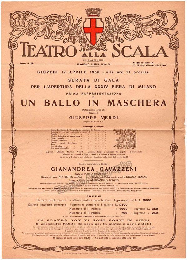 Un Ballo in Maschera - Teatro La Scala Playbill 1956