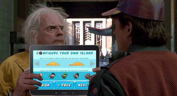 """Doc & Marty McFly discovered our game """"Conquering the Pirate Island"""" http://bit.ly/1xsngUg #backtothefutureday #backtothefuture #BTTF #kids"""