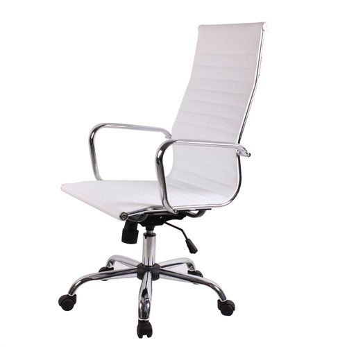 High Back Modern Ergonomic Office Chair in White Eco-Leather