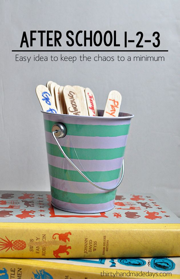Kids activities: After school 1-2-3 : fun idea to keep the chaos to a minimum after school!   Thirty Handmade Days