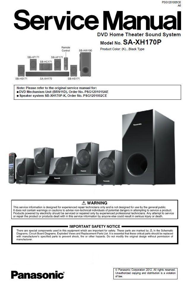 Panasonic Sc Xh170 Home Theater System Service Manual Repair Instructions Home Theater System Home Theater Sound System Repair