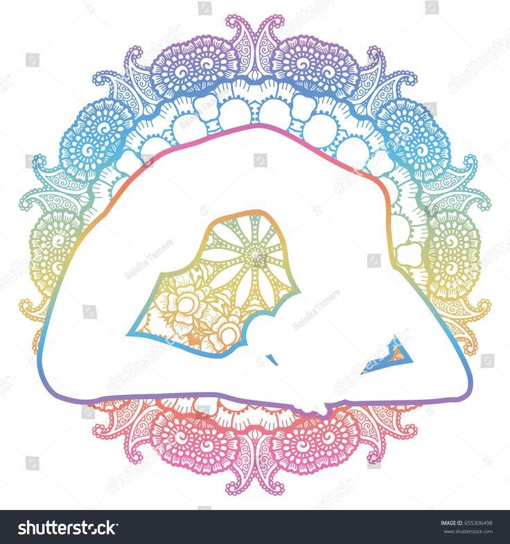 Mandala round background. Little Thunderbolt yoga pose. Laghu Vajrasana. Vector illustration