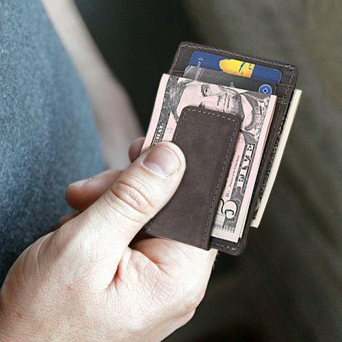 Leder Portemonnaie mit Geldklammer