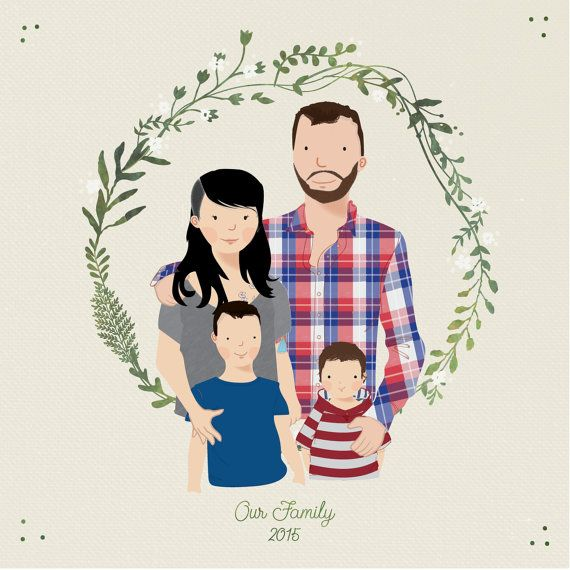 Custom Portrait Family illustration personalized by TheBritishRule
