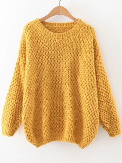 Pull col rond manche longue - jaune