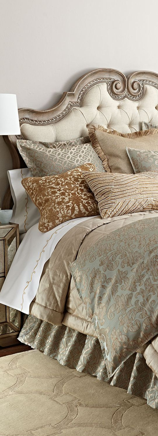 Beautiful Blend Of Soft Colors And The Tufted Headboard,