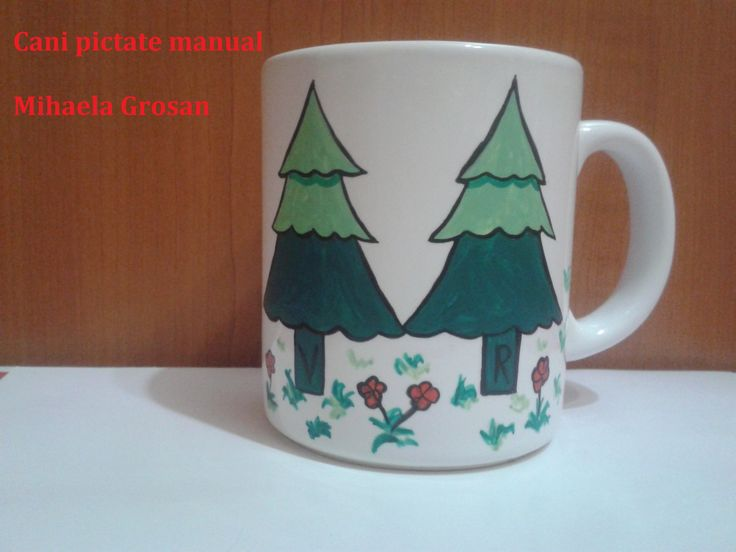 braduti pictati pe cani/ tree painted on mugs