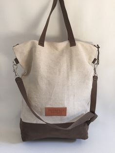 Canvas and leather tote bag shoulder bag by BudapestBerlin on Etsy