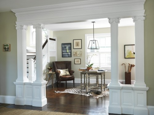 pretty way to open up a load bearing wall.. (except I would use square painted columns. not fluted)