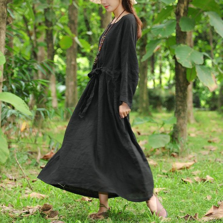 Flax Black Long Sleeve Pleated Pockets Lacing Embroidery Dress