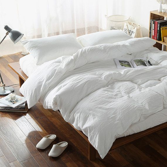 Duvet cover  100% Linen Flax White color - Seamless Washed Softened - Twin Full Queen King California King - Ideal for HOT climate