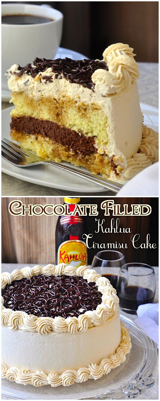 Chocolate Filled Kahlua Tiramisu Cake - A homemade tiramisu cake soaked in Kahlua coffee liqueur