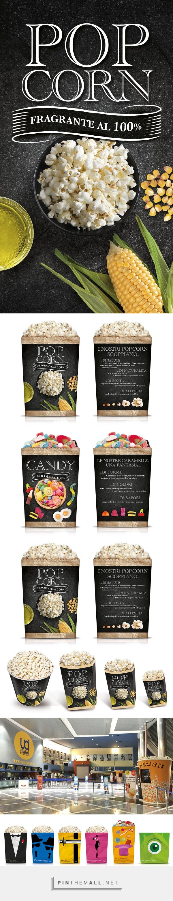 The new packaging popcorn and candy Uci Cinemas on Behance by Mattia Generali curated by Packaging Diva PD. Yummy, who wants some popcorn now: )